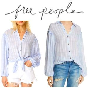Free people gauzy summer button down tunic top